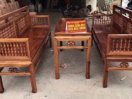 Bộ trường kỷ con tiện lối cổ gỗ gụ ta Quảng Bình (Chú Hưng, Hà Nội)