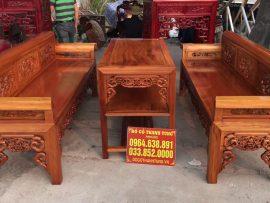 Bộ trường kỷ Đại gỗ gụ mật hàng đánh vecni trần (Anh Bằng, Hưng Yên)