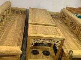 Bộ bàn ghế trường kỷ Đại 4 món gỗ gụ Lào đục tay cực đỉnh