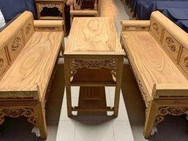 Trường kỷ cỡ Tiểu 9 chỉ gỗ gõ đỏ Ghana hàng vip cho nhà gian nhỏ