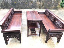 Trường kỷ gỗ gụ mật bộ 3 món (Anh Quang, Nam Định)