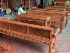 Bộ trường kỷ gỗ lim xanh Nam Phi bán về nhà Chùa tại Nho Quan, Ninh Bình