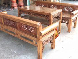 Bộ trường kỷ Đại đục sen cò gỗ lim xanh (Chú Hội, Thái Bình)