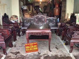 Bộ trường kỷ Huế 8 món gỗ gụ đục tích Ngũ lân (Anh Tâm, Bình Dương)