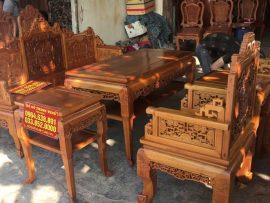 Bộ trường kỷ Huế đục tích cỗ đồ 6 món gỗ gụ (Anh Hải, Nam Định)