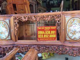 Tủ chè gỗ gụ ta Quảng Bình khảm ốc đỏ hàng siêu vip (Anh Ngọc, Hưng Yên)