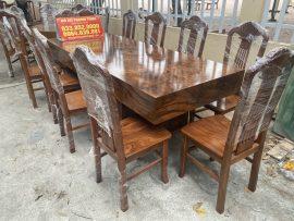 Bộ bàn ăn 10 ghế đóng hộp gỗ hương vân xám Nam Phi cực đẹp