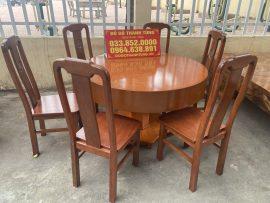 Bộ bàn ăn Bộ bàn ăn tròn 1m2 đóng hộp gỗ xoan đào 6 ghế đục chữ thọtròn 1m2 đóng hộp gỗ xoan đào 6 ghế đục chữ thọ